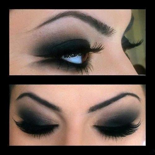 Фото макияжа с чёрными тенями